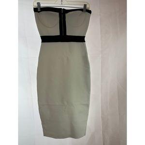 Bebe:  Strapless Black and White Midi Dress Sz: S